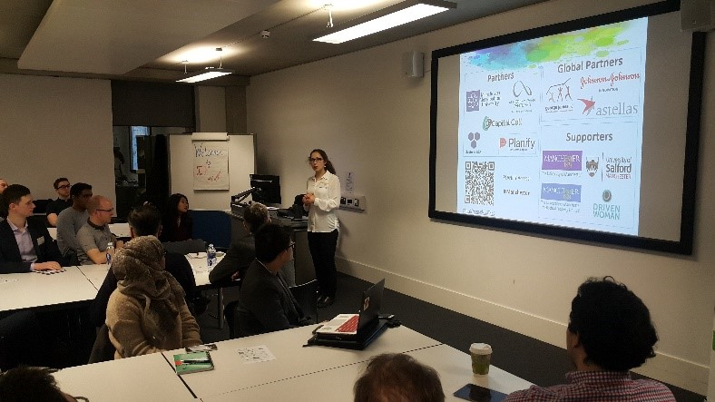 Anastassia Bolotkova, Innovation Forum Manchester President opening the Business Essentials for STEM Start-Ups event