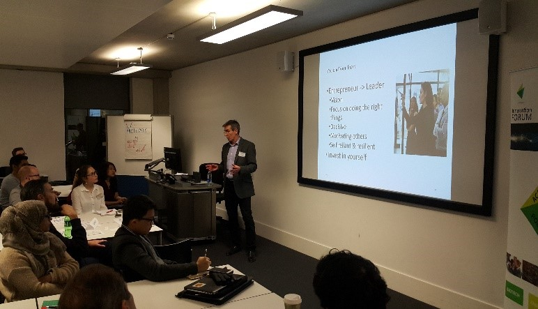 Peter Brown presenting at the Business Essentials for STEM Start-Ups event